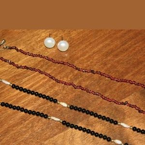 Jewelry - PM 384 garnets, onyx, and pearls